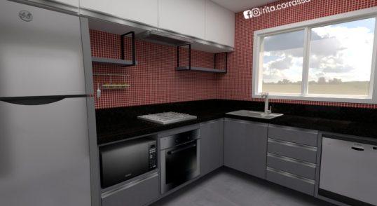 Projeto online 3d de cozinha moderna