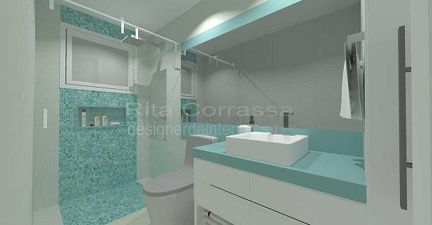 Projeto de banheiro simples para os filhos -> Banheiro Com Pastilha De Vidro No Chao