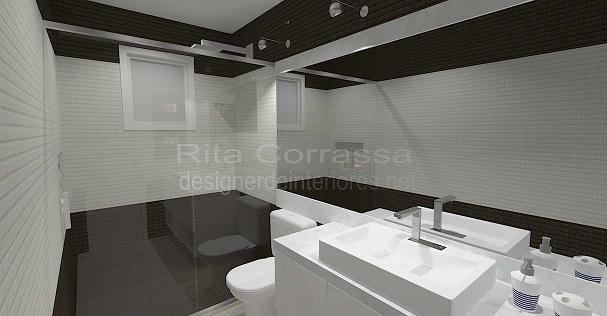 Projeto em 3D de banheiro contemporâneo com pastilhas -> Banheiro Com Pastilha Marrom