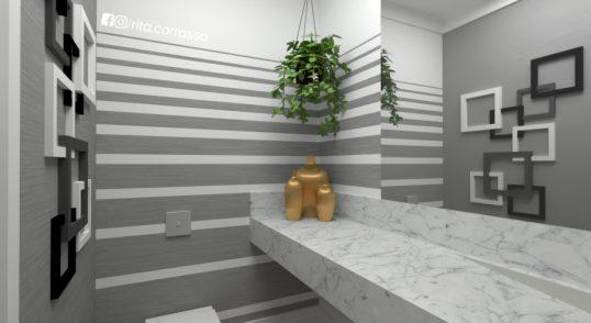 3d de banheiro preto e branco projeto online 3