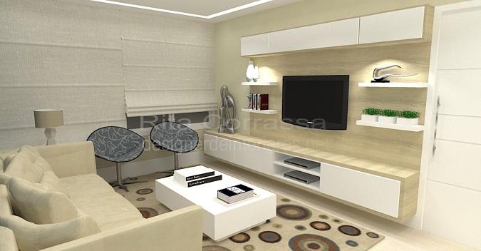 Decoracao Sala De Tv E Estar ~ Sala de estar com decoração azul e moderna