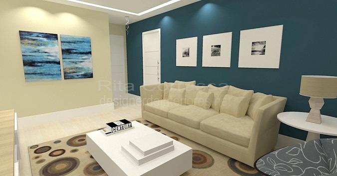 Sala De Estar Com Uma Parede Azul ~ Decoração azul da sala de estar contemporânea