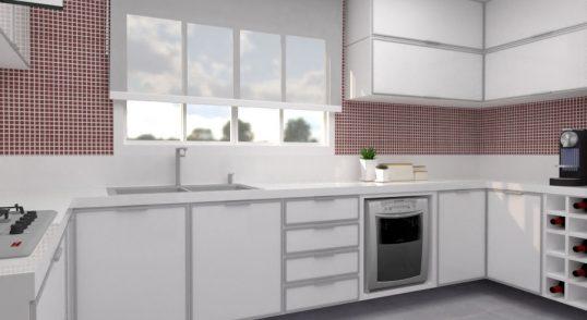 3d projeto de cozinha moderna branca