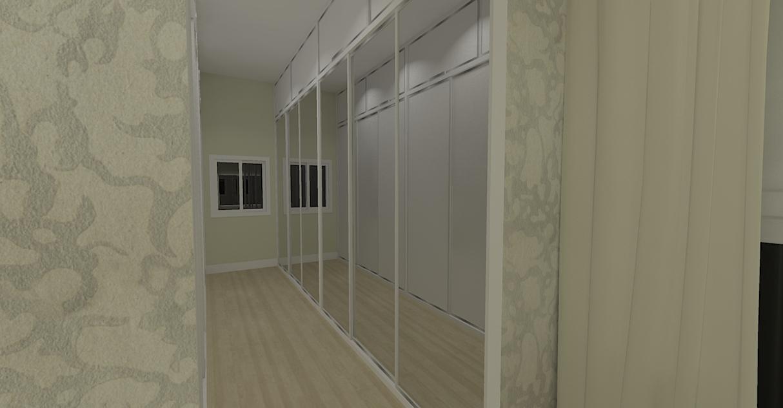 Projeto de closet para o casal com portas de correr