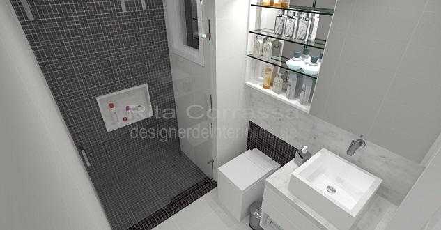 Projeto de banheiro com pastilhas pretas masculino -> Box De Banheiro Com Pastilha De Vidro