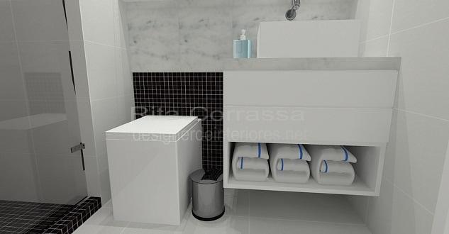 banheiro pequeno com pastilhas de vidro