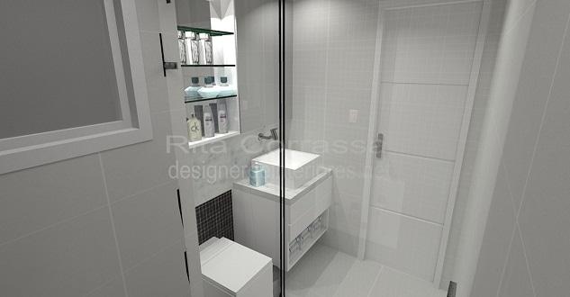 projeto de banheiro pequeno branco e preto