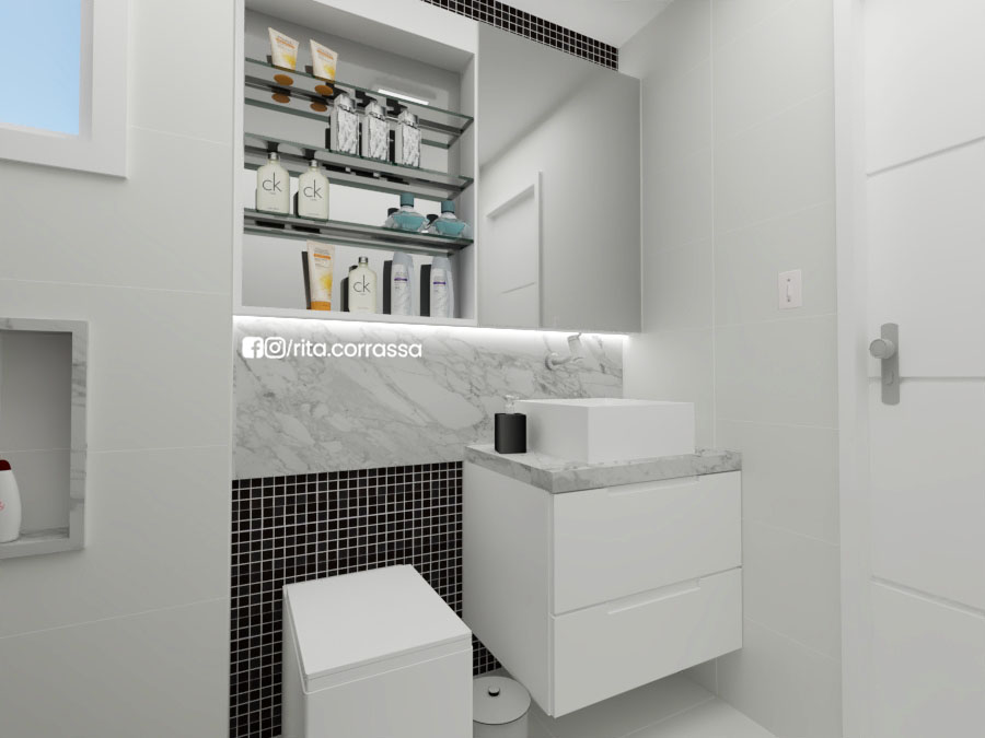 3d de banheiro preto e branco projeto online