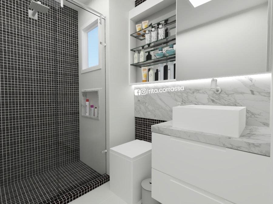 Projeto de banheiro para os filhos preto e branco