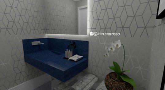 Projeto em 3d online de lavabo