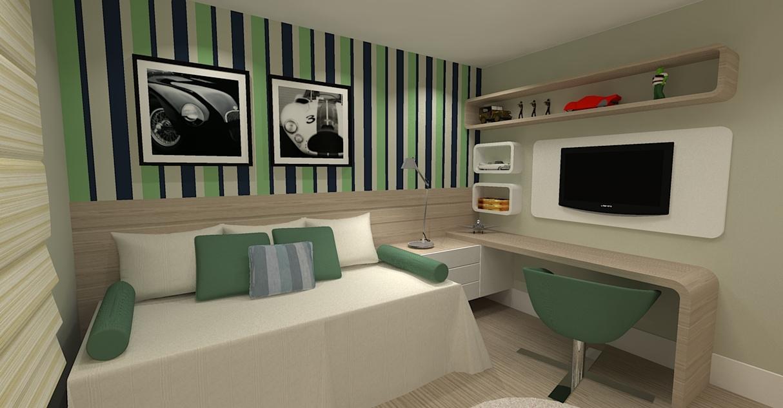 Dormitorio menino com cores verde