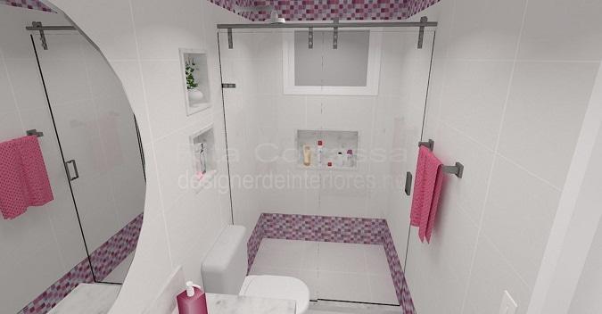 Projeto de banheiro das meninas com pastilha de vidro rosa -> Banheiros Com Pastilhas Em Cima Do Vaso