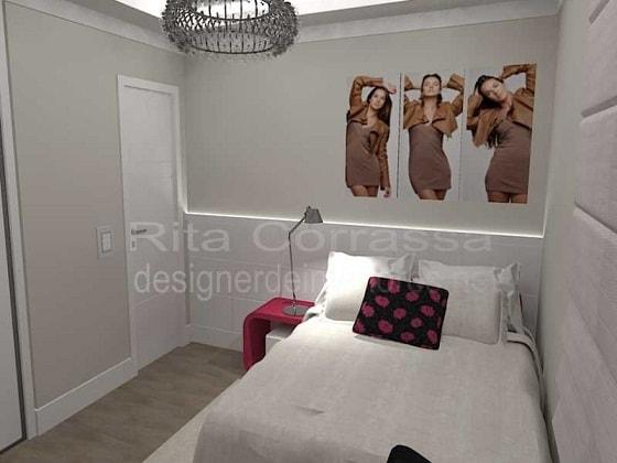 dormitorio feminino com cama de casa