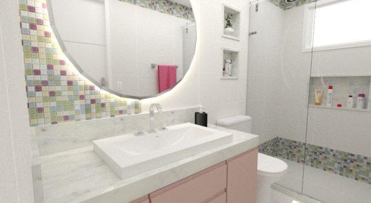 Projeto de banheiro delicado para as filhas