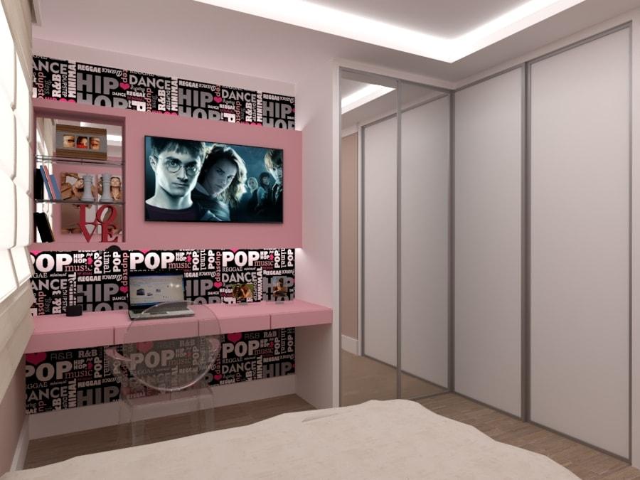 projeto em 3d do quarto da menina adolescente