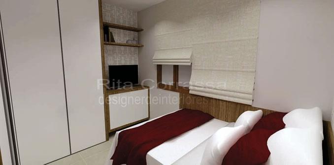 quarto de casal moderno e pequeno com armario em L
