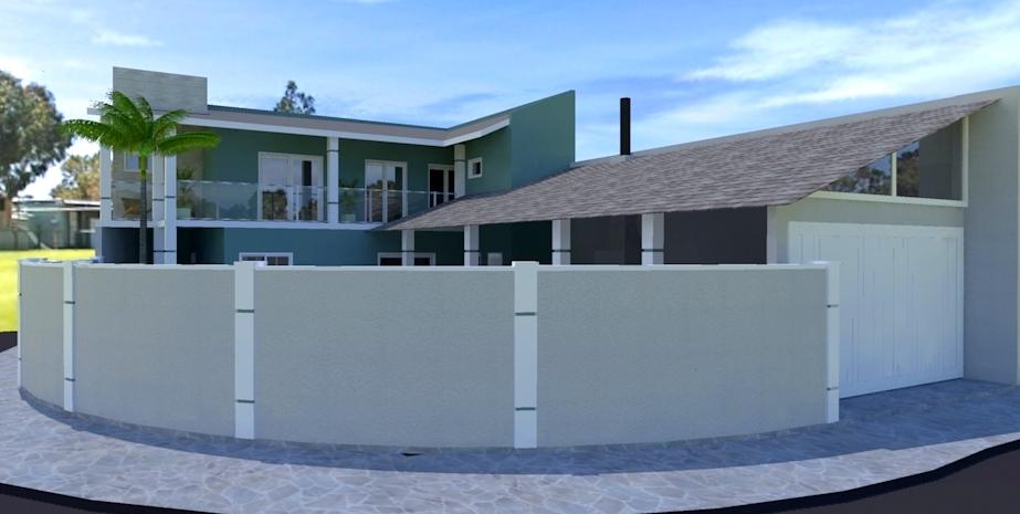 Vista frontal fachada residencial