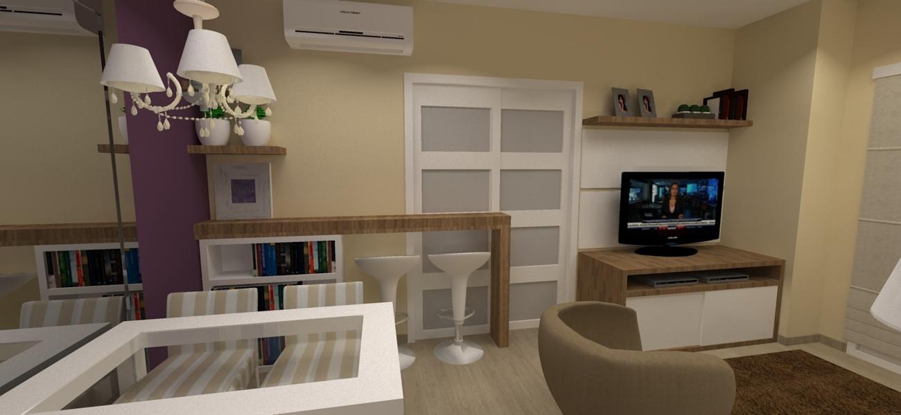 Projeto da sala de jantar e divisória cozinha