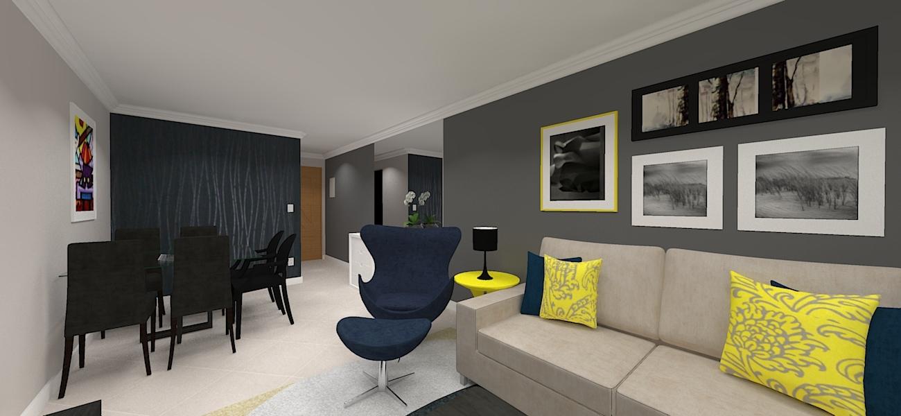 Imagem geral do projeto de decoração da sala de estar e jantar