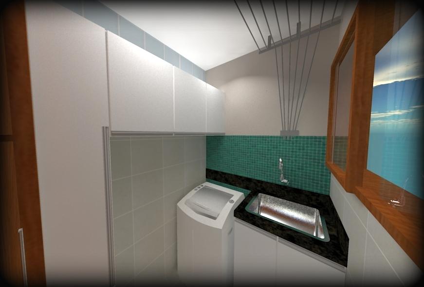 3D projeto de lavanderia pequena e decorada
