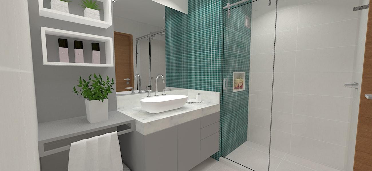 Vista banheiro social com pastilhas turquesa