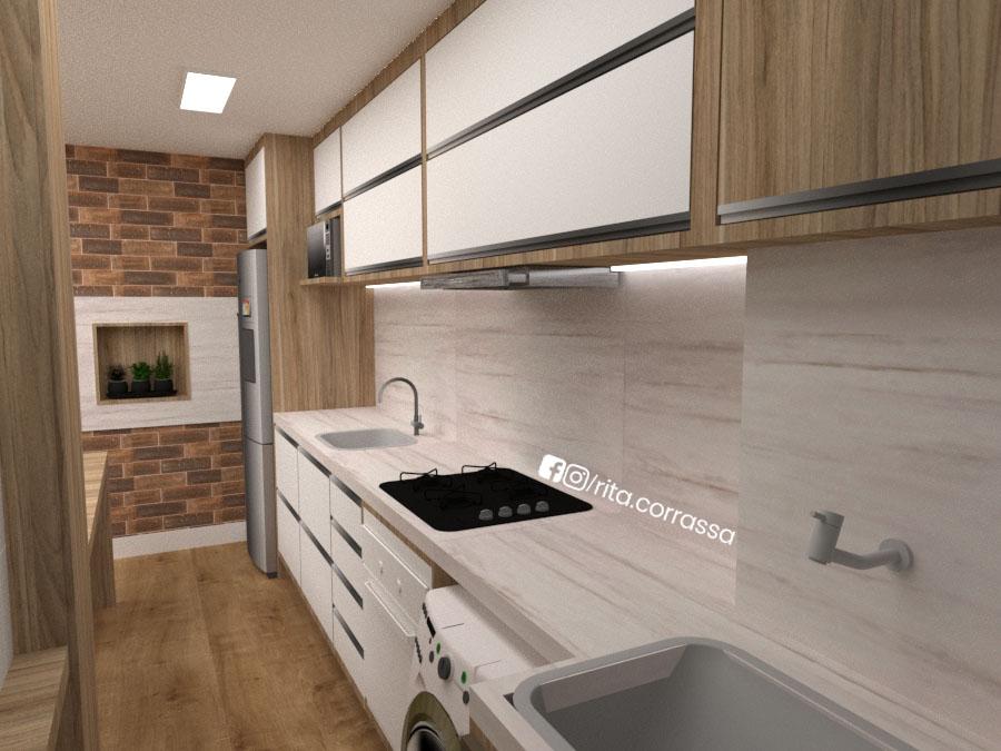 Cozinha branca e madeira projeto online