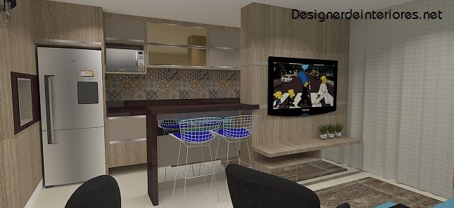projeto de cozinha integrada   sala em tons de bege