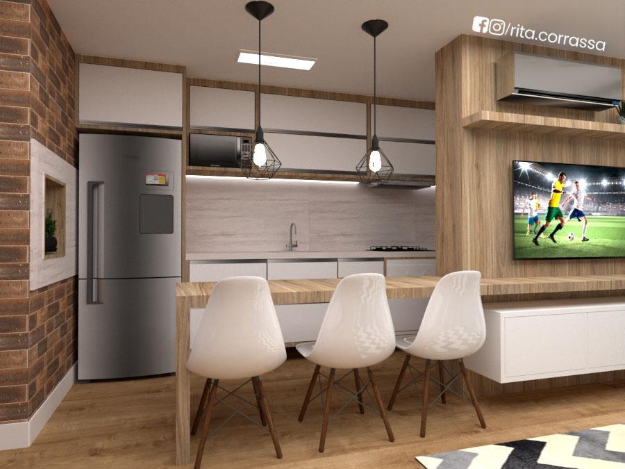 projeto 3d de cozinha integrada com churrasqueira e sasla