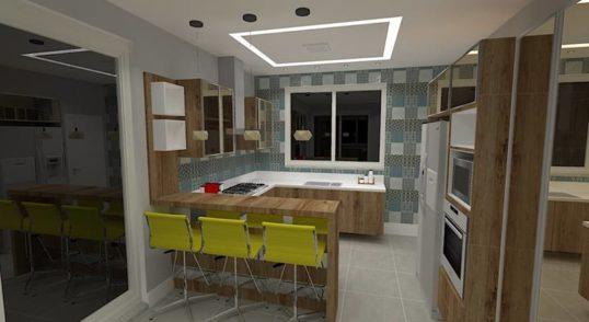 Cozinha em U madeira branco azul e amarelo