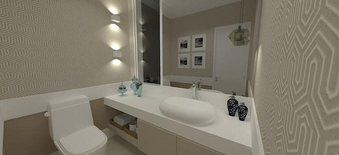 Projeto de lavabo com arandelas