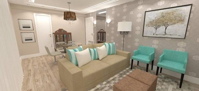 Sala Jantar Verde Agua ~ Projeto de sala de estar e jantar decorada de bege e verdeágua
