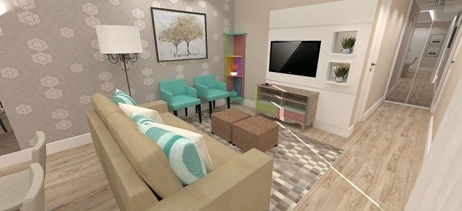 Sala De Estar Bege ~ Projeto de sala de estar e jantar decorada de bege e verdeágua