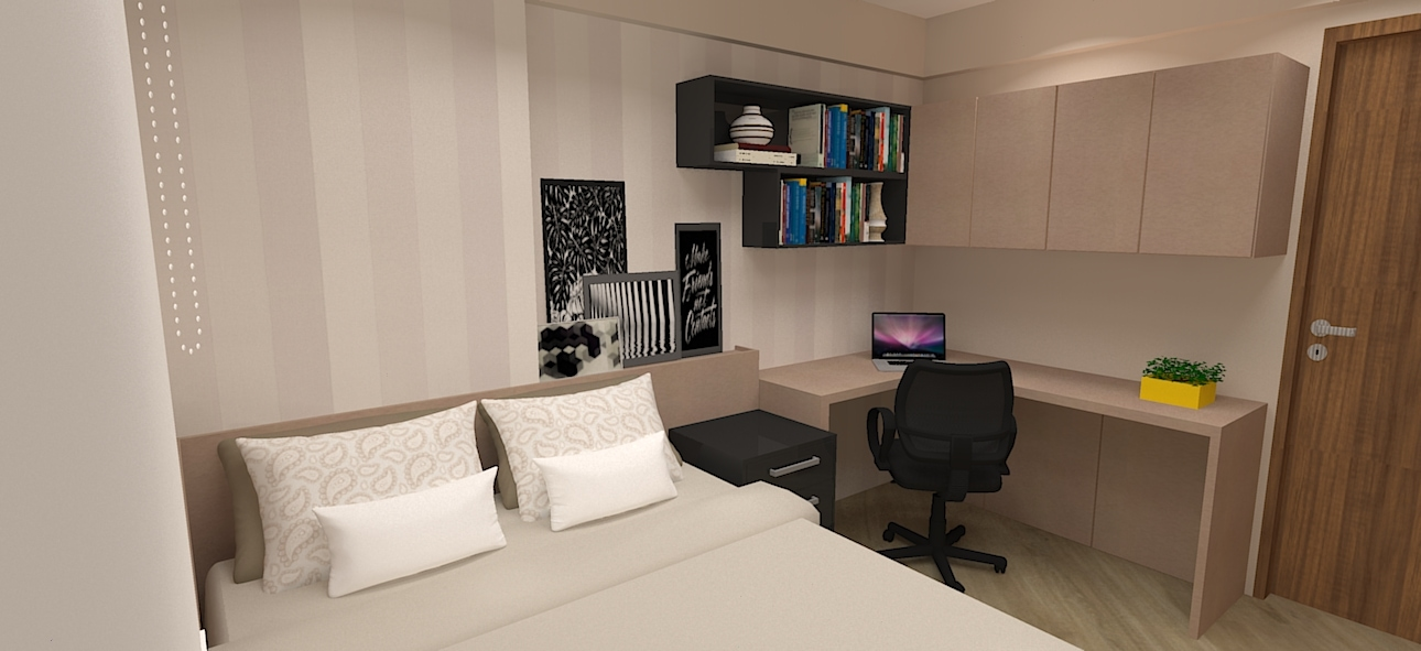 home office e quarto de h spedes no mesmo ambiente. Black Bedroom Furniture Sets. Home Design Ideas