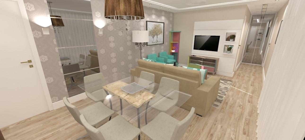 Sala de estar e jantar decorada de bege e verde rita for Sala de estar sala de jantar
