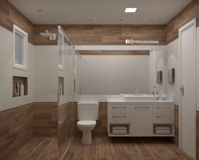 Projeto em 3d de banheiro moderno e simples